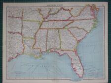 1952 LARGE MAP ~ UNITED STATES OF AMERICA SOUTHERN ~ FLORIDA ALABAMA LOUISIANA