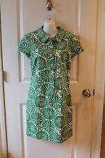 Boden Green White Cotton Canvas Dress SZ 6R
