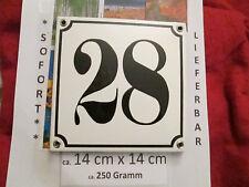 Hausnummer Emaille Nr. 28 schwarze Zahl auf weißem Hintergrund 14cm x 14cm .....