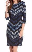 Karen Kane 3L24564 Cerulean Blue Chevron Stretch Jersey Sheath Dress - MSRP $148