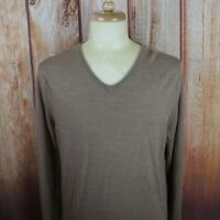 J. Crew Men's Large V-Neck Sweater 100% Merino Wool Slim Fit NEW NWT L/S Beige
