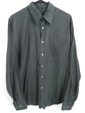 Men's Size Large DKNY Jeans Gray Striped Silk Blend Long Sleeve Button Up Shirt