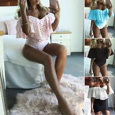 Mujer Clubwear Mono Vestido Ceñido Peto Encaje Hombro Descubierto corto fiesta