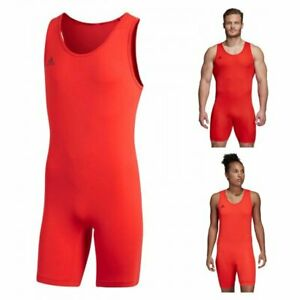 Adidas Powerlift Weightlifting Singlet Adult UNI Bodybuilding Red Suit CW5647