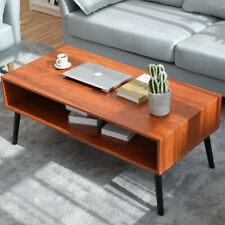 """43"""" Mid-Century Wooden Coffee Table w/ Storage for Living Room Cocktail TV Table"""