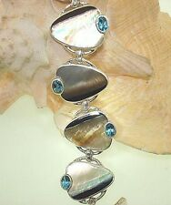 Marta Howell STER Silver Black-Lip Mother of Pearl Topaz Gemstone Bracelet #13