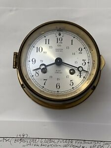 Vintage German Salem Ship's Bell Clock. 8 Day Jeweled Brass Ship's Clock.NR