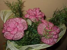 VINTAGE HANDMADE GLASS BEADED FLOWERS, bouquet of flowers + GIFT