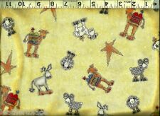 Henry Glass ~ Christmas Nativity Camel Sheep Star ~ 100% Cotton Quilt Fabric BTY