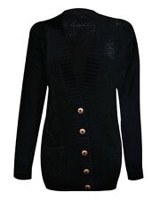 Women Cable Boyfriend Button up Knitted Cardigan Ladies Top Jumper Size 8-26