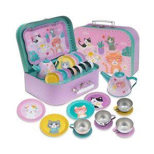 Jewelkeeper 15 Piece Kids Tin Tea Set & Carrying Case - Cat Design Cats