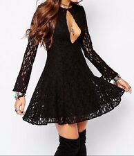 FREE PEOPLE NWOT, TEEN WITCH FIT & FLARE LACE DRESS IN BLACK XS $128.00