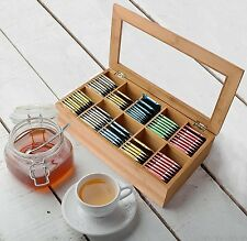 Tea Bag Storage Box Bamboo Organizer 10 Sections Wood Sugar Packet Container New