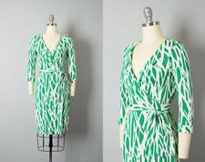 DVF NWOT $398 New Jeanne Two Silk Jersey Wrap Dress Twigs Large Green Size 2