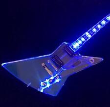 Customzied Full Acrylic Electric Guitar Crystal Guitar Blue LED Light  Pull Push