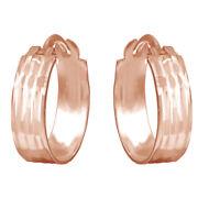 Modern 4mm Wide Huggie Hoop Earrings 14K Rose Gold Over Sterling Silver 925