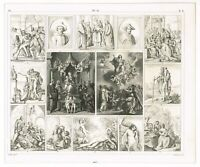 ANTIQUE PRINT VINTAGE 1851 ENGRAVING ART PAINTING BROQUE & MANNERIST STYLES
