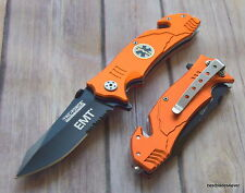 7.75 INCH OVERALL TACFORCE EMT SPRING ASSISTED TACTICAL RESCUE KNIFE POCKET CLIP