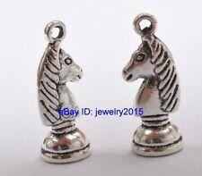 30pcs Tibetan Silver Knight horse chess beads charms pendant jewelry 21mm G3403