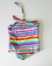 Roxy Little Girls Striped One Piece Swimsuit Turquoise Sz 3 - NWT