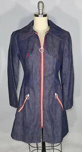 "VINTAGE 1960s Mod Denim Contrast Zip Jacket Size 0 2 XS 33"" Bust 29.5"" Waist"