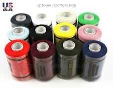 Lot 12 Spools Sewing Thread Polyester Assorted Colors 1000 Yards Each Quality