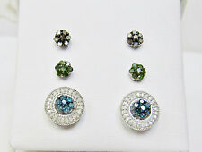 Fancy Multi Color Diamond Flower Cluster Stud Earring Set With Jackets Silver