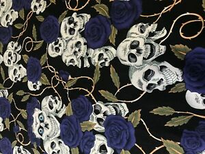 100% COTTON POLIN FABRIC ROSE AND HUBBLE SKULL ROSES FLORAL  PURPLE ROSE GOTH
