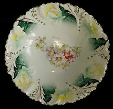 "unmarked RS Prussia ? Bowl Iris mold 10 1/4"" Yellow Green Gold"