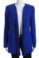 Rachel Roy Womens V Neck Ruffle Blazer Jacket Blue Size 6