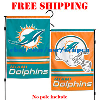 """Miami Dolphins Logo Garden Outdoor Flag Double Sides 12x18"""" NFL 2019 Fan NEW"""