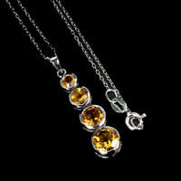 Unheated Round Citrine 7mm 14K White Gold Plate 925 Sterling Silver Necklace 18