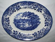 "blue transferware BROADHURST The English Scene 12"" serving platter CASTLE ANGLER"