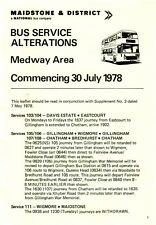 Bus Timetable - Maidstone & District Medway Area Alterations - July 1978