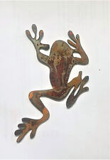 6 in Tree Frog Shape Metal Wall Art Rough Rusty Vintage Ornament DIY Sign Craft