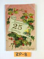 C.1910 December 25 Christmas Day Flowers Embossed OLD Vintage Postcard ZP-8