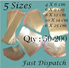 50 - 100 - 200 Cellophane Bags 5 sizes Clear Cello Party Display Gift Packing