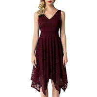 Women's Floral Lace V Neck Handkerchief Hem Cocktail Formal Swing Dress
