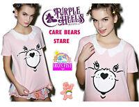Iron Fist Care Bears Stare 80s Retro Pink Cheer Bear Ruffle Top Size Small