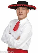 Spanish Mexican Black Matador Bull Fighter Senor Fancy Dress Day of the Dead Hat