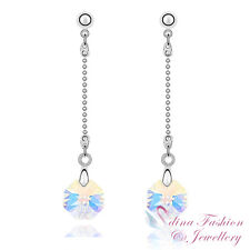 18K White Gold GP Made With Swarovski Crystal Round Cut Dangling Drop Earrings