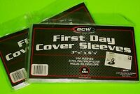 200 (2x 100) FIRST DAY COVER POLY SLEEVES, 2 MIL,FOR #6-3/4 COVERS-CRYSTAL CLEAR