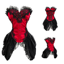 Gothic Brocade Lace Skirt Overbust Corset Dress Bustier Basques Patry Costume