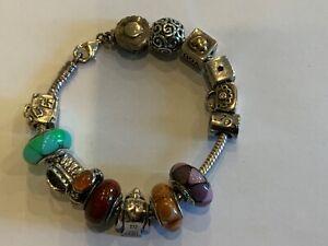 Pandora Sterling Silver Fourteen Charm Bracelet