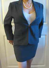 Women's Style Comma Blue-Gray Polyester Skirt Suit 42, Jacket 44