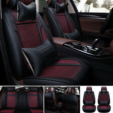 13Pcs Universal Auto Car Black&Red Covers Front Rear Seat Cushion For 5 Seat USA