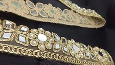 Fancy Bridal Lace Trim Gold Ribbon Sewing Craft Wedding Saree Border by 1 Yard