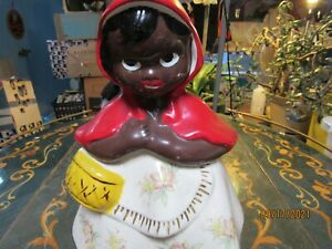 RARE MID CENTURY AFRICAN AMERICANA HULL WARE LITTLE RED RIDING HOOD COOKIE JAR