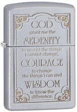 Zippo Serenity Prayer- Windproof Lighter - Satin Chrome Finish -28458 - Gift Box