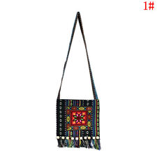 Vintage Canvas Ethnic Shoulder Bag Embroidery Hippie Tassel Tote Messenger Bag L